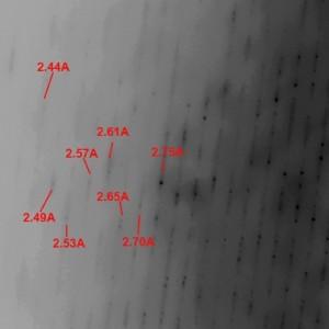 Ausschnit aus dem vorigen Bild, die Zahlenangaben entsprechen der Auflösung in Angstroem.