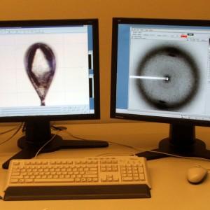 Links der Kristall im Loop. Das rote Rechteck zeigt an wo der Röntgenstrahl den Kristall trifft. Rechts eine Test-Diffraktionsaufnahme.